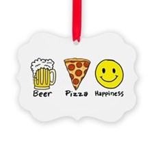 Beer Pizza Happiness Ornament