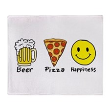 Beer Pizza Happiness Throw Blanket