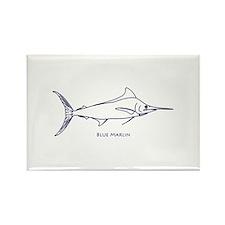 Blue Marlin Logo (line art) Rectangle Magnet