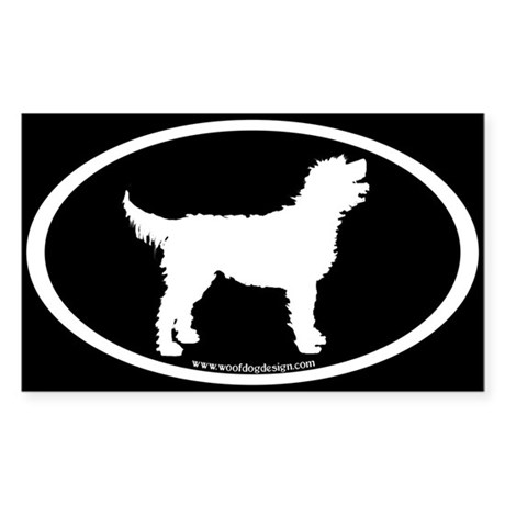 Labradoodle Oval (white on black) Oval Sticker