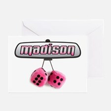 """""""Madison Pink Fuzzy Dice"""" Greeting Cards (Package"""