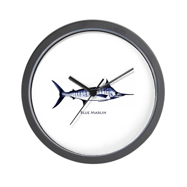 blue marlin logo wall clock by outdoorsusa