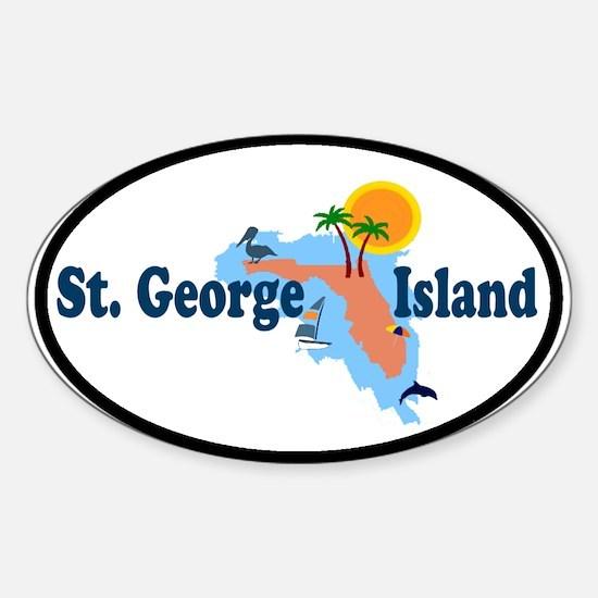 St. George Island - Map Design. Sticker (Oval)