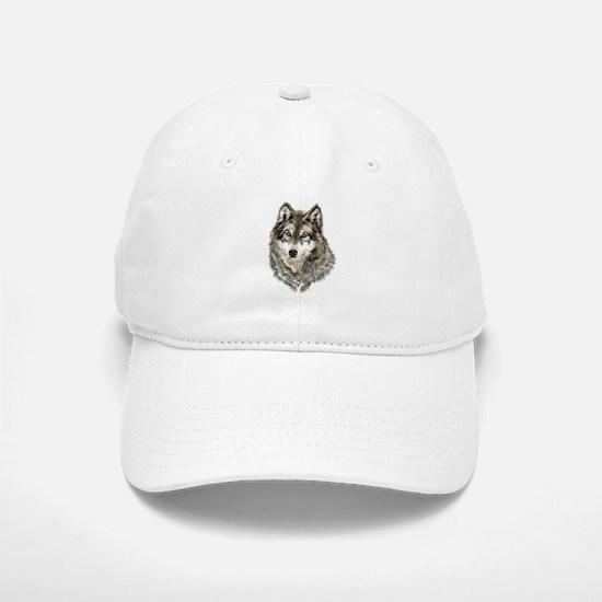 Watercolor Grey, Gray Wolf Animal Painting Basebal
