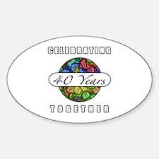 40th Anniversary (Butterflies) Sticker (Oval)