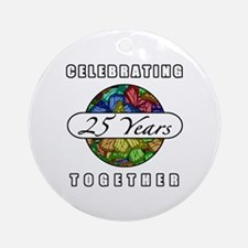25th Anniversary (Butterflies) Ornament (Round)