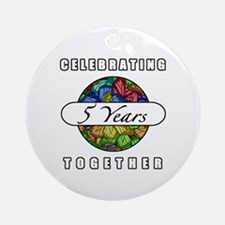 5th Anniversary (Butterflies) Ornament (Round)