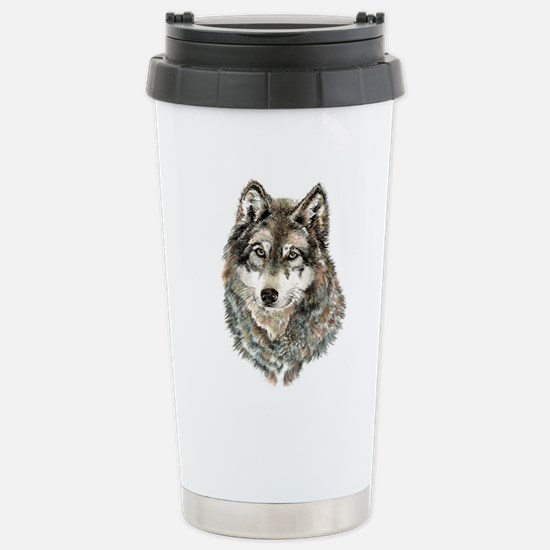 Watercolor Grey, Gray Wolf Animal Painting Travel