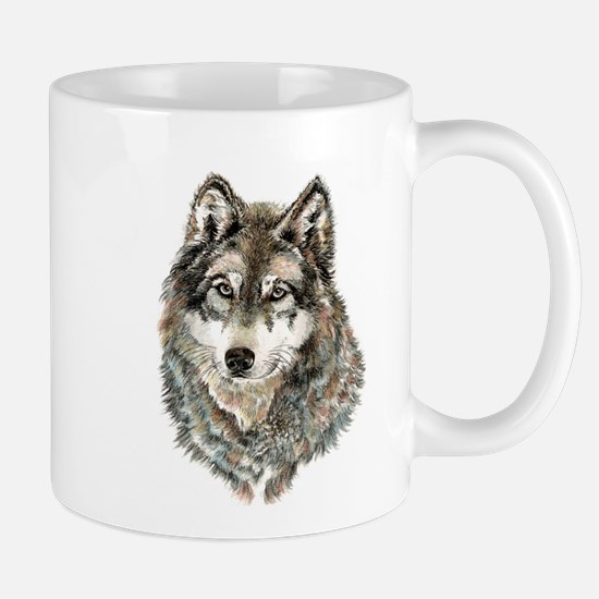 Watercolor Grey, Gray Wolf Animal Painting Mug