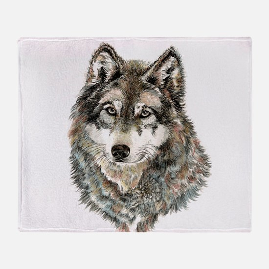Watercolor Grey, Gray Wolf Animal Painting Throw B