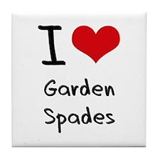 I Love Garden Spades Tile Coaster