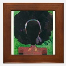 Girl with the Big Afro Framed Tile