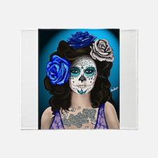 Blue Rose Muertos Pin-up Portrait Throw Blanket