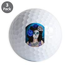 Blue Rose Muertos Pin-up Portrait Golf Ball