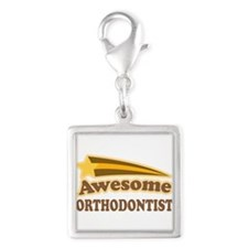 Awesome Orthodontist Silver Square Charm