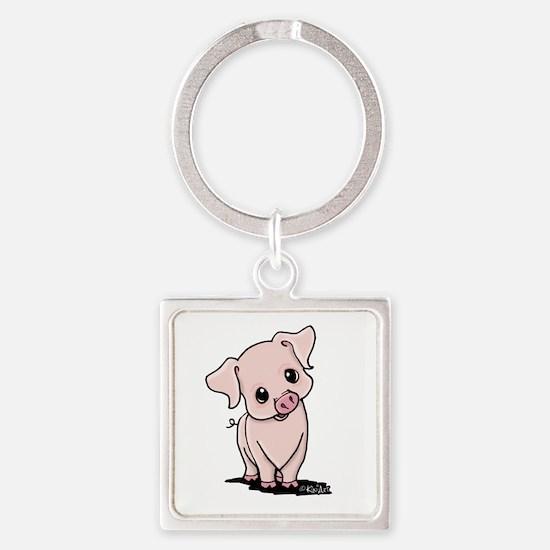 Curious Piggy Square Keychain