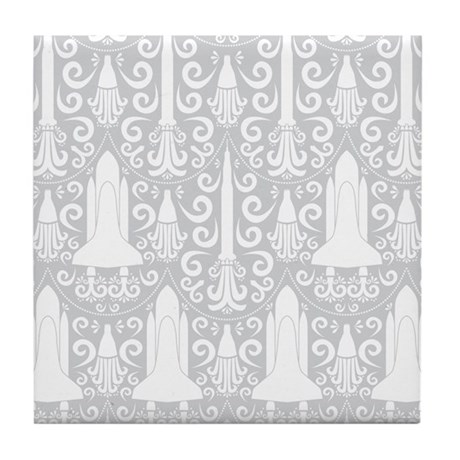 Rocket Science Damask Tile Coaster