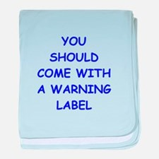 warning baby blanket