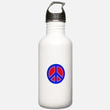 Red White and Blue Peace Sign Water Bottle
