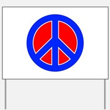 Red White and Blue Peace Sign Yard Sign