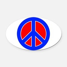 Red White and Blue Peace Sign Oval Car Magnet