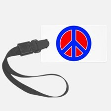 Red White and Blue Peace Sign Luggage Tag