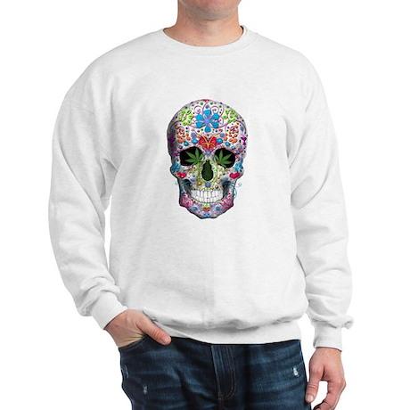 Decorated Skull n Weed Leaf Sweatshirt