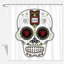 CANDY SKULL-Hawiian Shirt-ghost outline Shower Cur