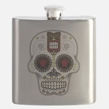 CANDY SKULL-Hawiian Shirt-ghost outline Flask
