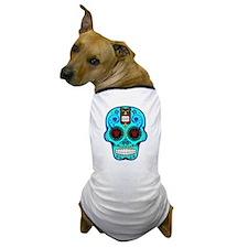 CANDY SKULL-Light Blue Hawiian Shirt Dog T-Shirt