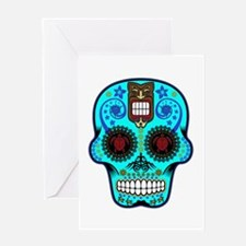 CANDY SKULL-Light Blue Hawiian Shirt Greeting Card