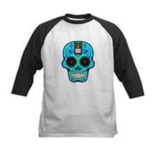 CANDY SKULL-Light Blue Hawiian Shirt Baseball Jers