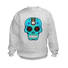 CANDY SKULL-Light Blue Hawiian Shirt Sweatshirt