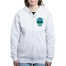 CANDY SKULL-Light Blue Hawiian Shirt Zip Hoodie