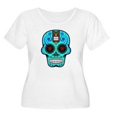 CANDY SKULL-Light Blue Hawiian Shirt Plus Size T-S