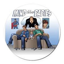 Mind the Comic Nerd Babies Round Car Magnet