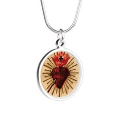Sacred Heart of Jesus Silver Round Necklace