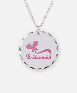 Bridesmaid Pink Butterfly Necklace
