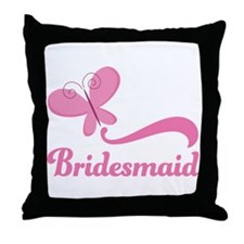 Bridesmaid Pink Butterfly Throw Pillow