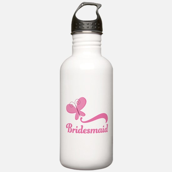 Bridesmaid Pink Butterfly Water Bottle