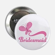 "Bridesmaid Pink Butterfly 2.25"" Button"