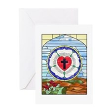 Luther Seal Stained Glass Window Greeting Card