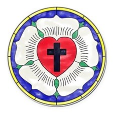 Luther Seal Stained Glass Window Round Car Magnet