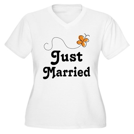 Just Married Butterfly Women's Plus Size V-Neck T-