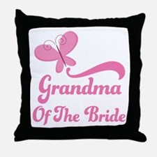 Grandma of the Bride Butterfly Throw Pillow