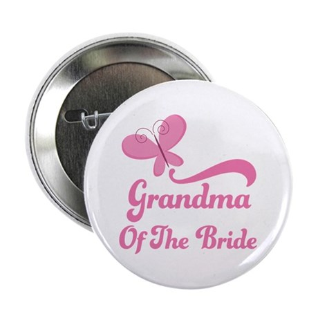 """Grandma of the Bride Butterfly 2.25"""" Button"""