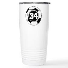 Soccer Number 34 Player Travel Mug