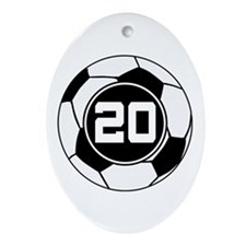 Soccer Number 20 Player Ornament (Oval)
