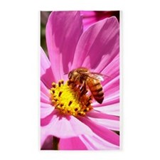 Honey Bee on Pink Wildflower 3'x5' Area Rug