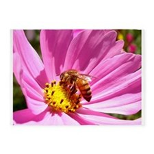 Honey Bee on Pink Wildflower 5'x7'Area Rug